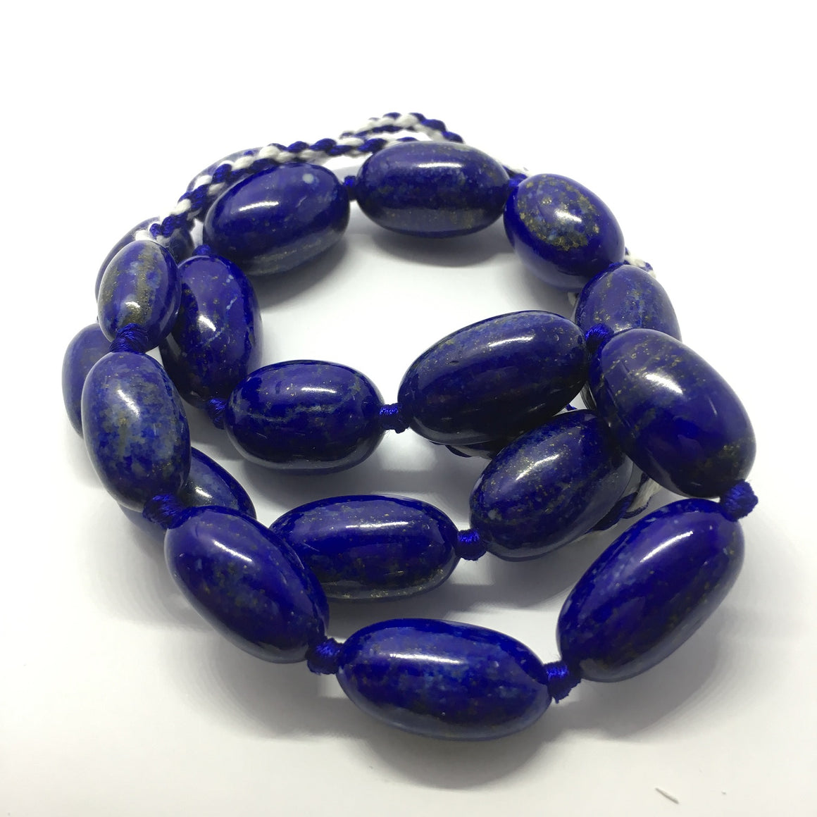 Lapis Lazuli Necklace - Lapis Necklace 19 Oval Beads - 644.5 ct