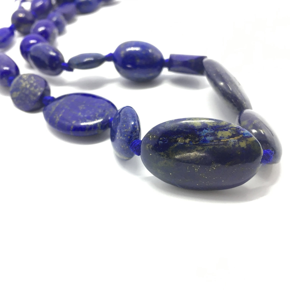 Lapis Lazuli Necklace - Lapis Necklace 25 Oval Beads - 521.5 0 ct