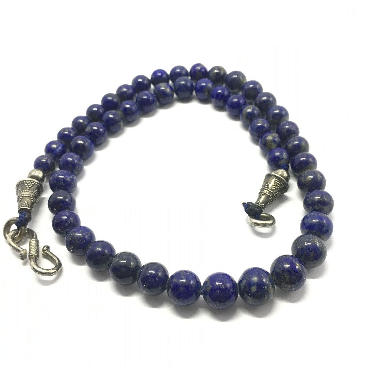 257.5 Carat, 49 Round Beads Lapis Lazuli Necklace With Metal Lock