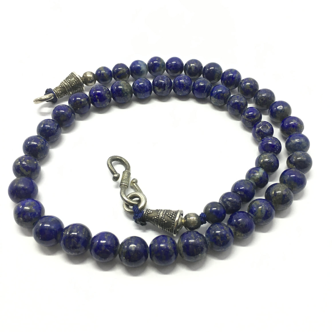 265.0 Carat, 48 Round Beads Lapis Lazuli Necklace With Metal Lock