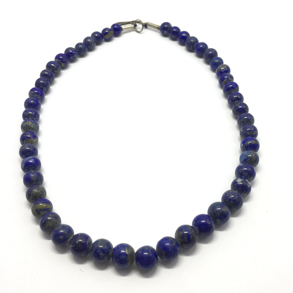 208.5 Carat, 49 Round Beads Lapis Lazuli Necklace With Metal Lock