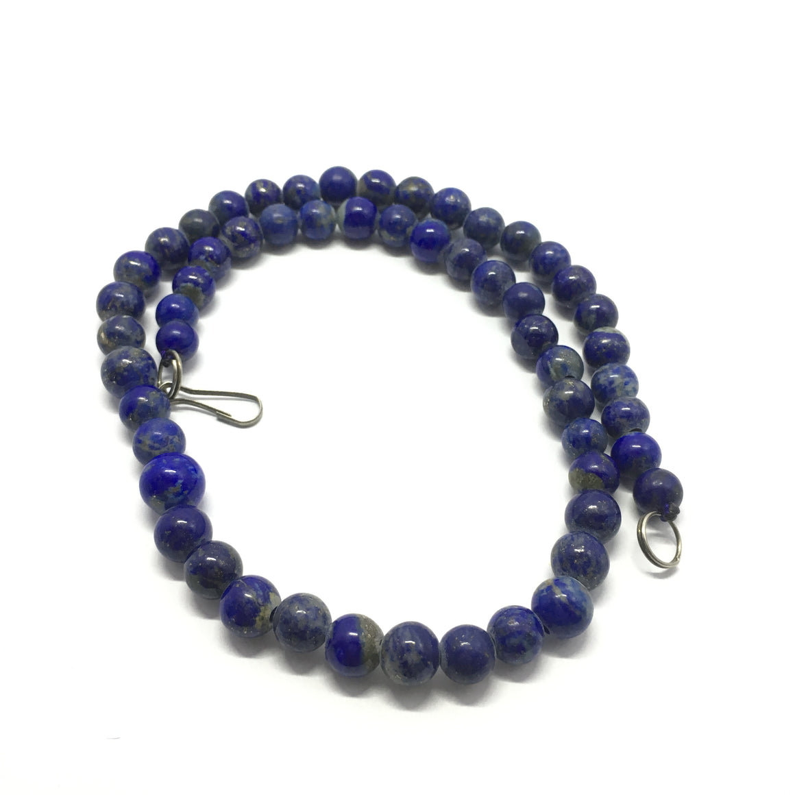 182.5 Carat, 55 Round Beads Lapis Lazuli Necklace With Metal Lock