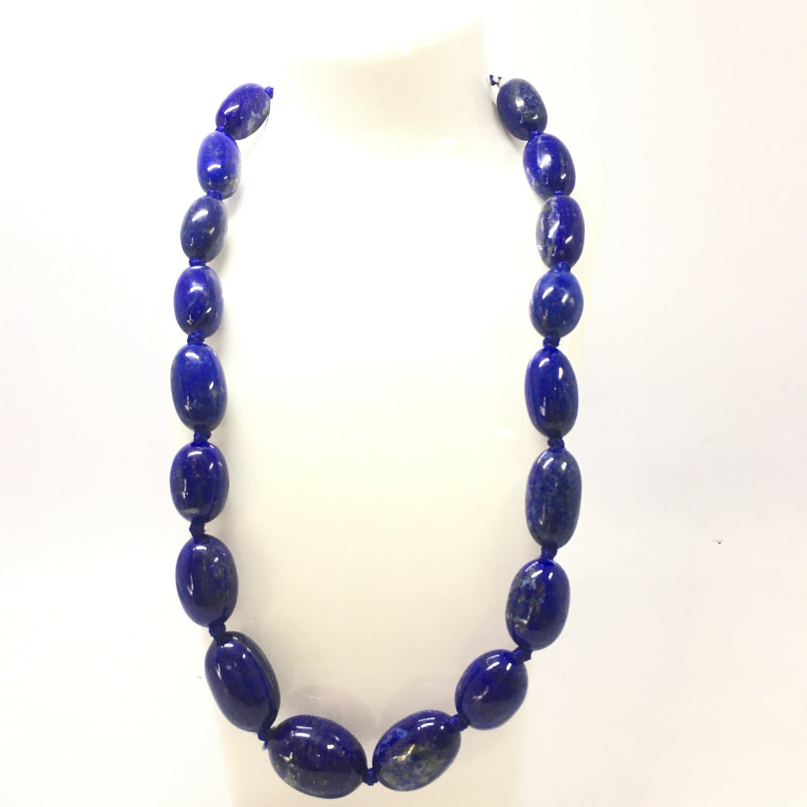 Lapis Lazuli Necklace - Lapis Necklace 19 Oval Beads - 640.5 ct