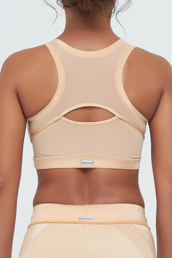 D2W Crop Top in Poly/Spandex Gold with mesh gold back