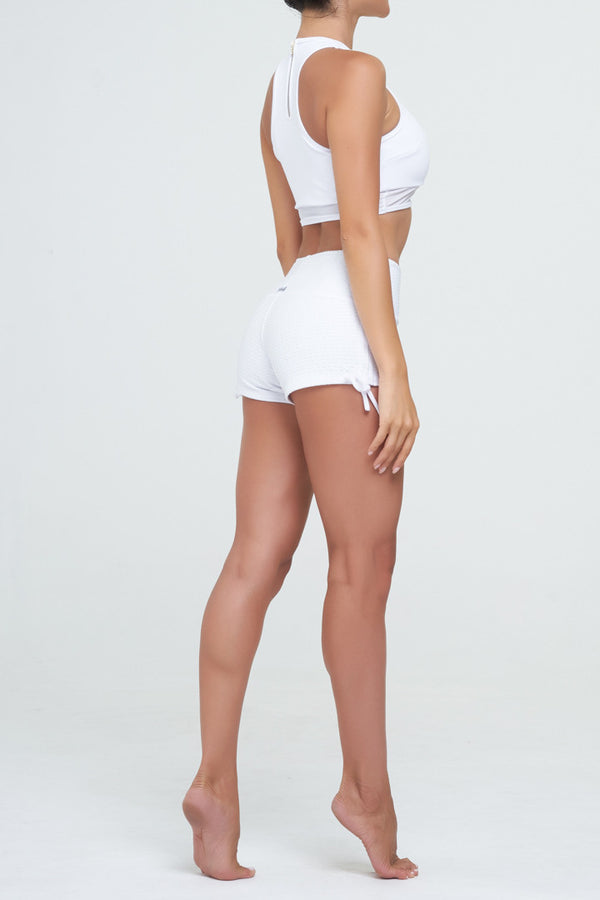 Vivien top in White Supplex with white mesh details