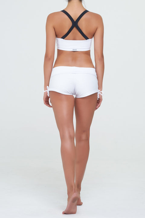 Melanie 5 in Supplex White with Black straps in Supplex