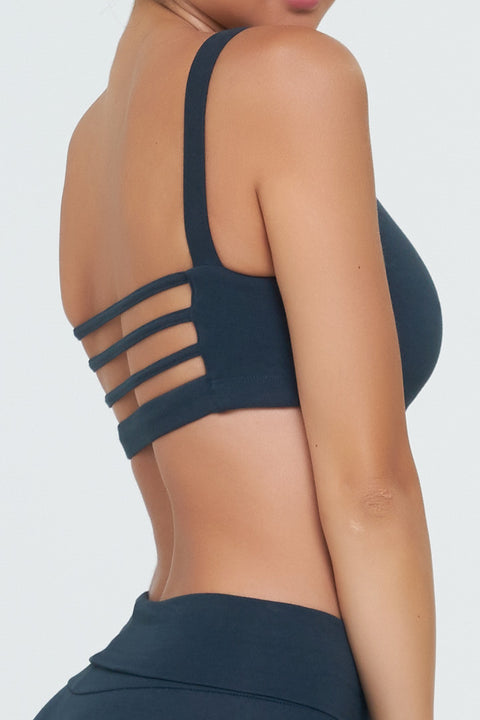 Melanie 2 Sports Bra in Navy Blue in Eco-Organic Cotton/Lycra