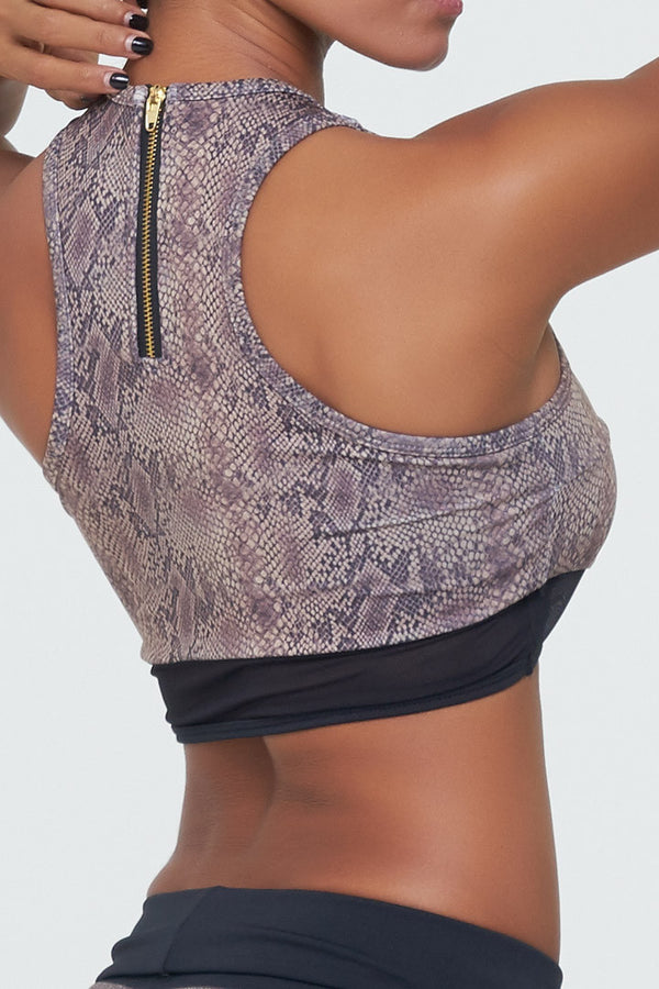 Vivian Top in Snake print with black mesh details