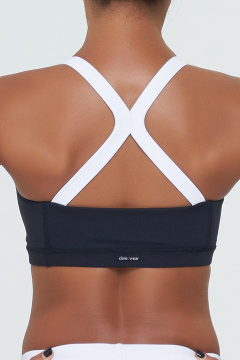 Melanie 5 in Black Supplex with white straps at the back