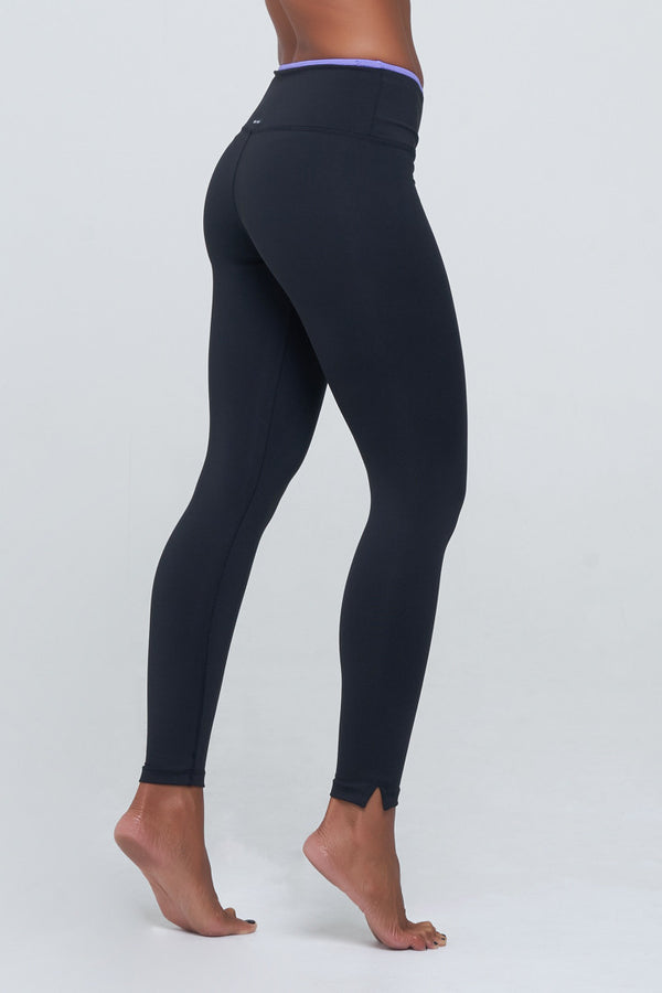 Angela High Waist in Black Supplex with purple lining