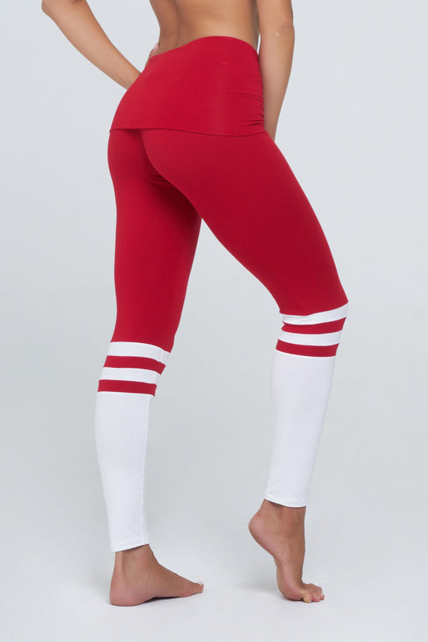Hannah Roll Down Sport in Red/White Rayon/Lycra