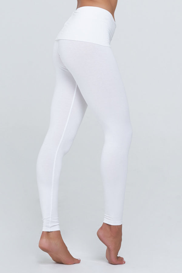 Hannah Roll down legging in pure white Rayon/Lycra