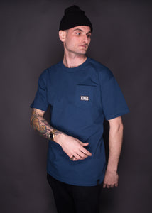 Kings Without Crowns. Kings Box Pocket Tee. Harbor Blue Color Option.