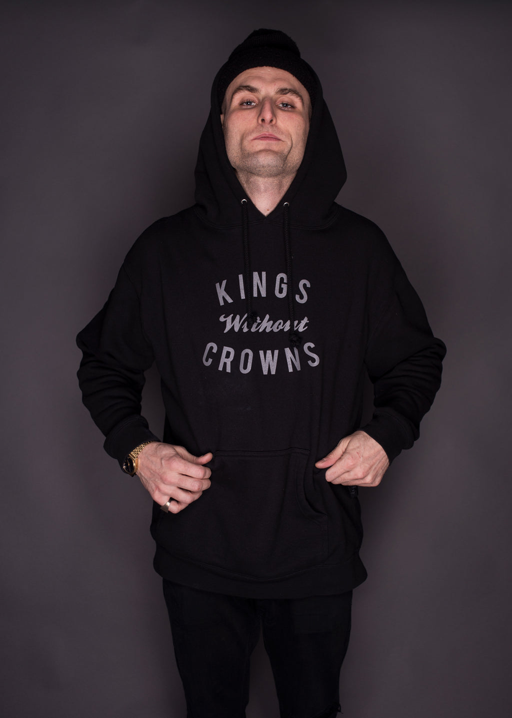Kings Without Crowns. NYC Stack 3M Reflective Hoodie. Black Color Option.