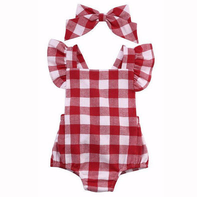 Plaid Picnic Romper Set