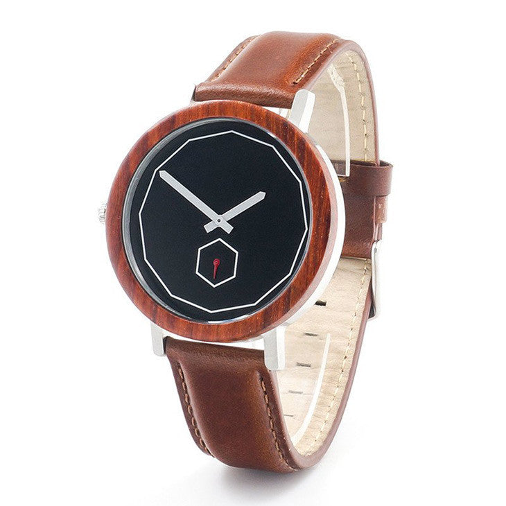 Black dial minimalist watch with wooden bezel and brown leather strap