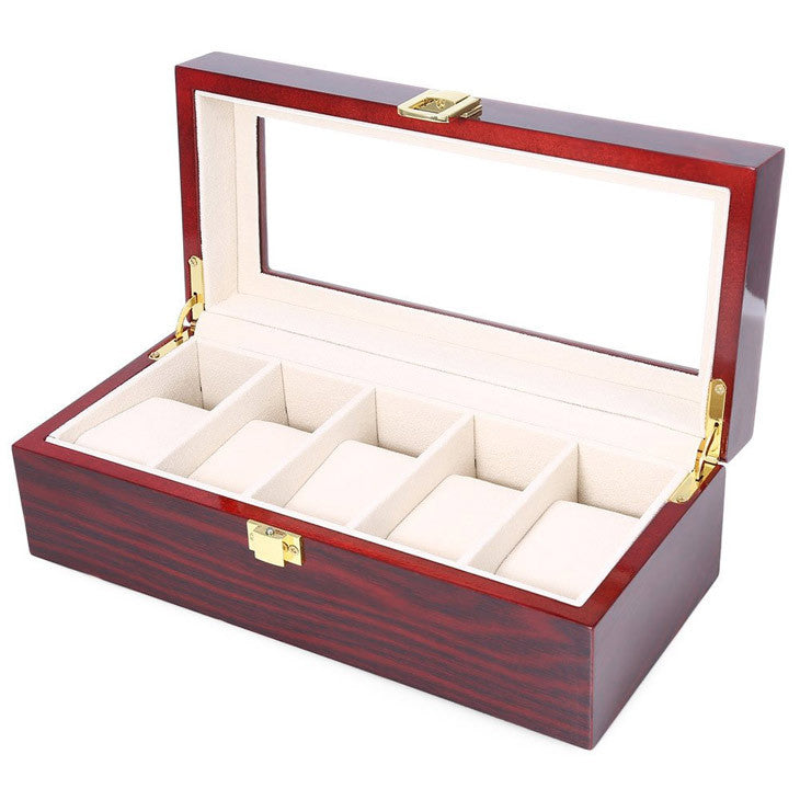 5 grid watch box made of red color wood