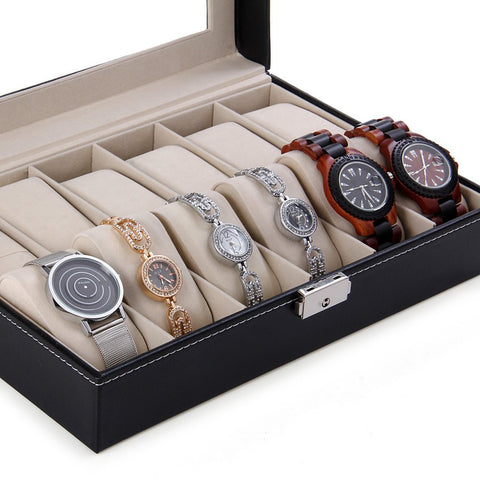 12 Grid Leather Watch Box