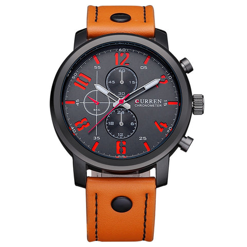 Leather Band Sport Watch