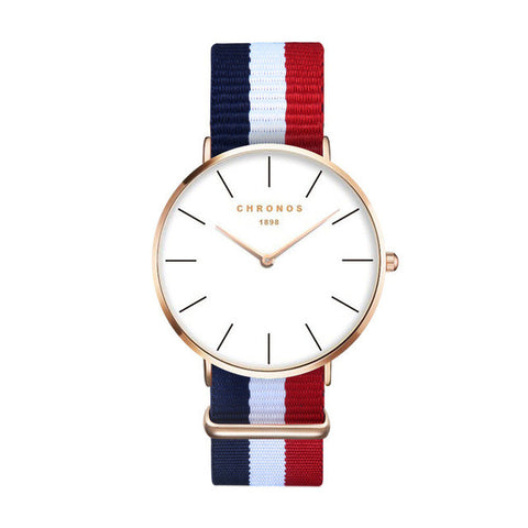 Blue, White & Red Stripes Watch