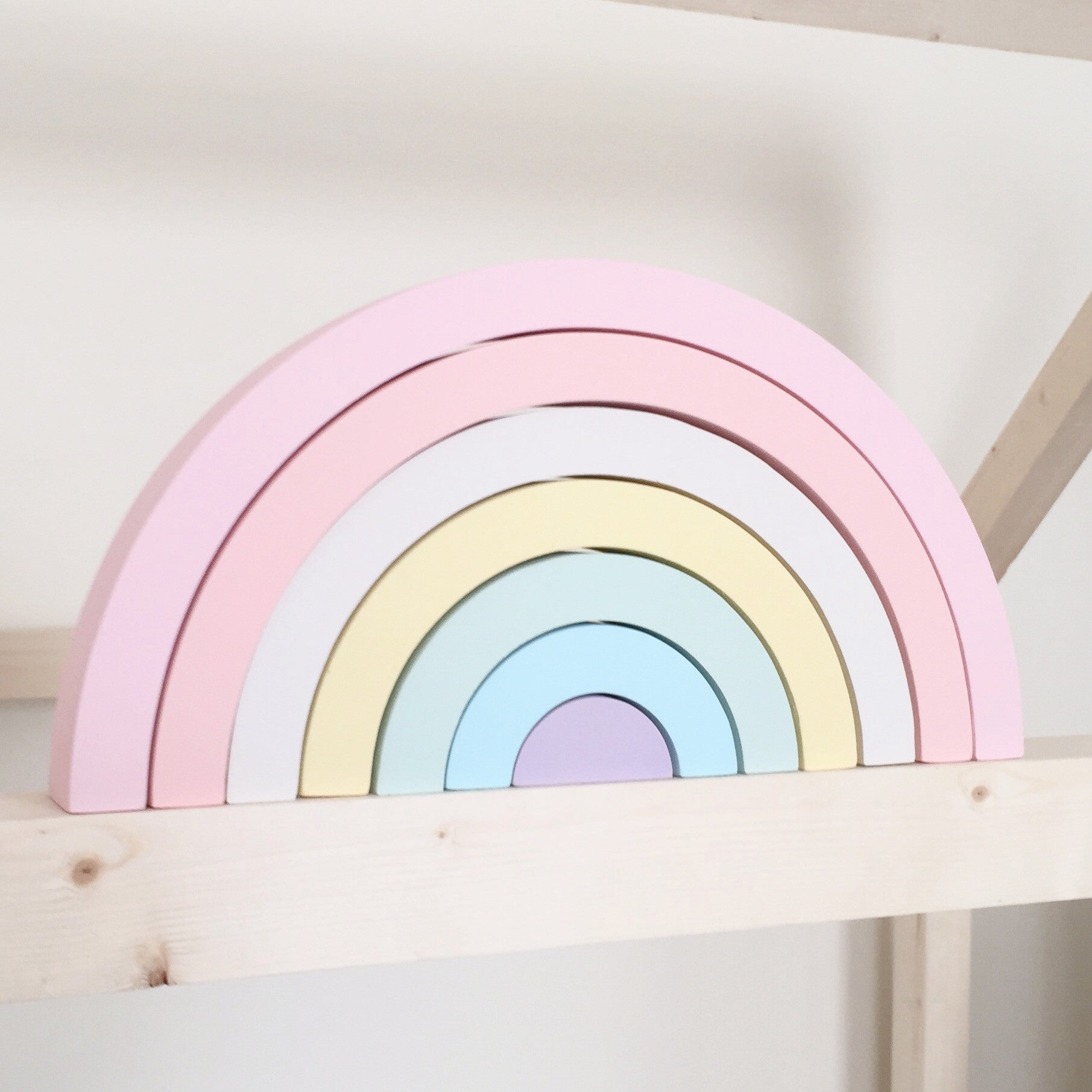 Pastel colours wooden rainbow stacking toy- extra large