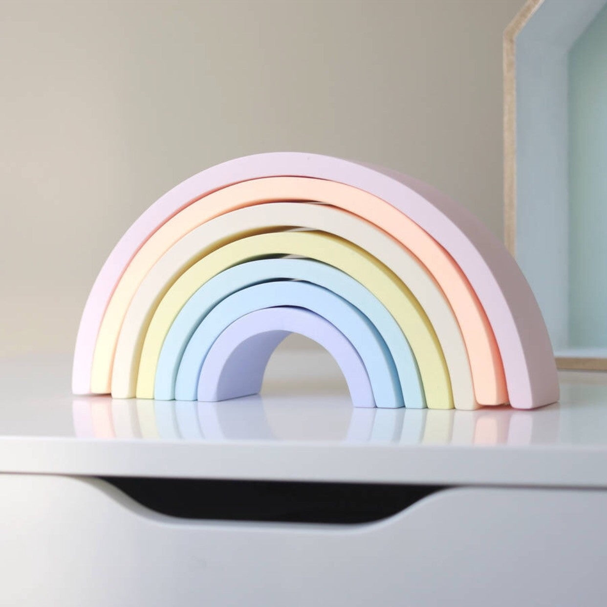 Pastel wooden rainbow stacking toy large