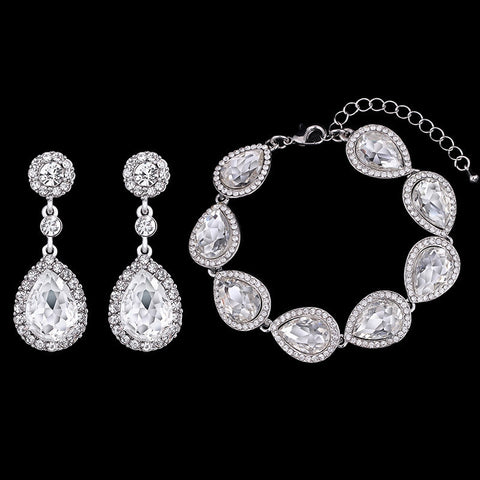 Crystal Teardrop Earring Bracelet Jewelry Set