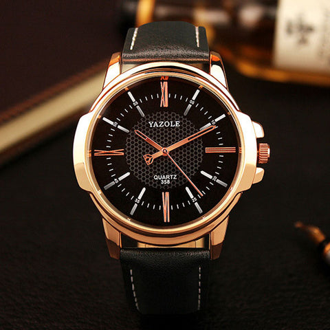 Mens Water Resistant Leather Band Watch