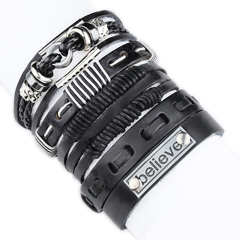 Bikers Multilayer Leather Rope Bracelet