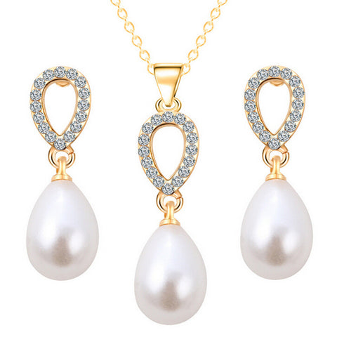 Drop Pearl Heart Necklace Earring Set