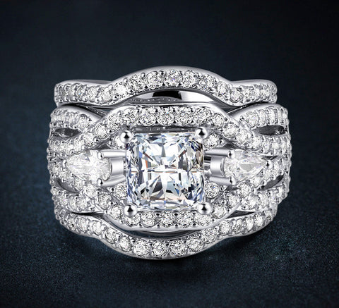 3-in-1 Crystal Wedding Band Ring