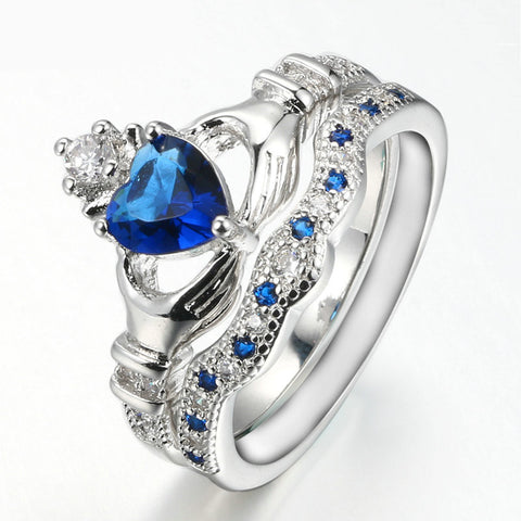 Blue Heart Crystal Crown Jewels Ring