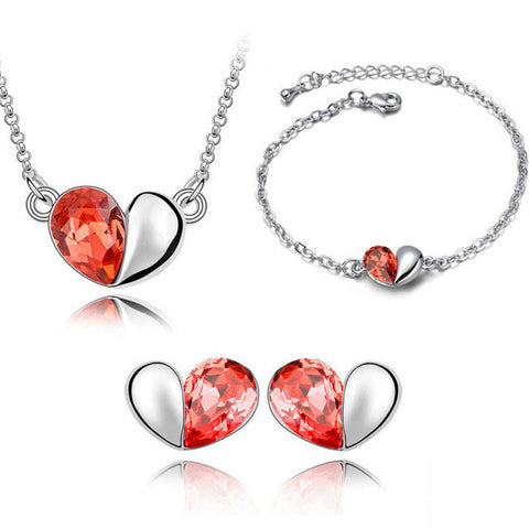Silver Crystal Heart Necklace Earring Bracelet Jewelry Set