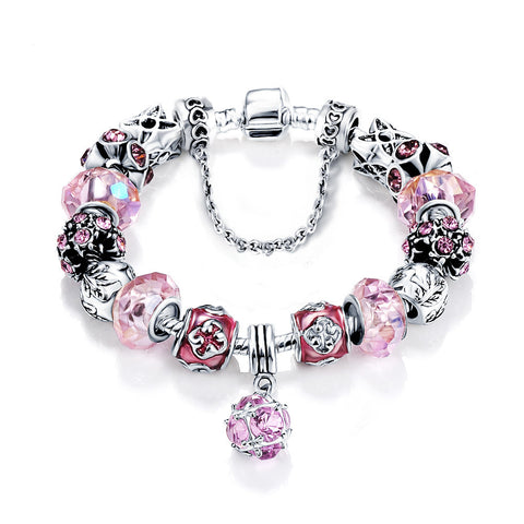 Silver Plated Glass Charm Bracelet