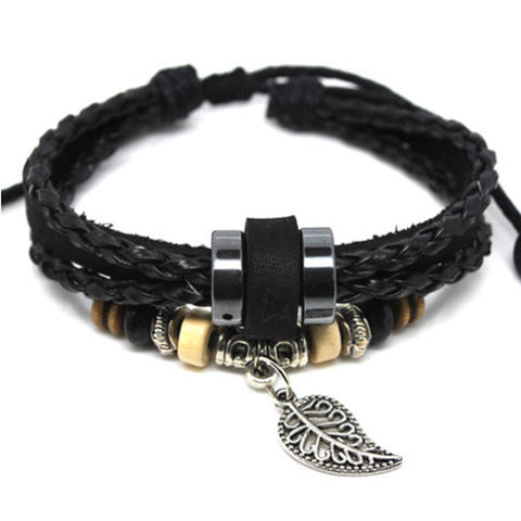Alloy Leaves Black Leather Adjustable Bracelet