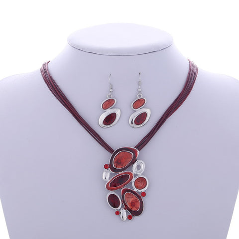 Leather Chain Necklace Earring Jewelry Set