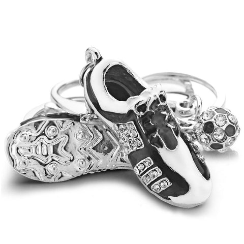 Crystal Football Soccer Shoes Keychain