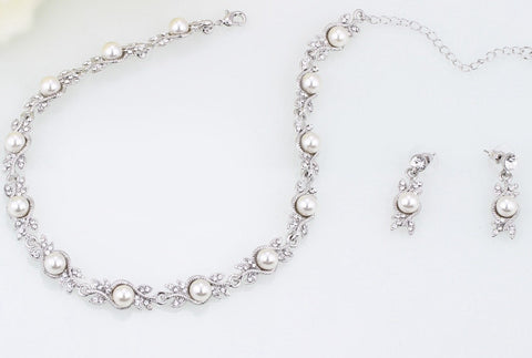 Pearl Leaf Bridal Jewelry Set