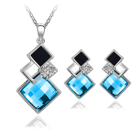Diamond Shaped Crystal Necklace Earring Set