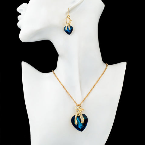 Gold Plated Crystal Heart Necklace Set