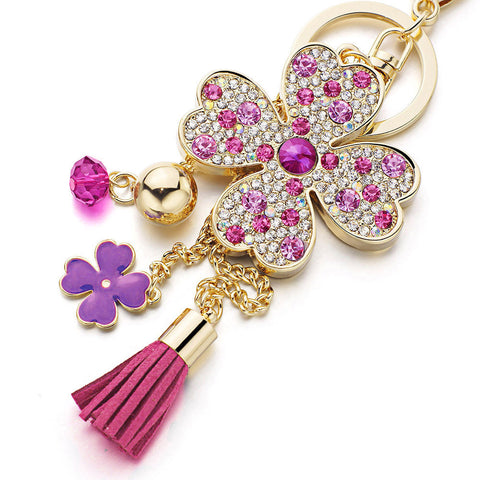 Lucky Four Leaves Clover Crystal Keychain