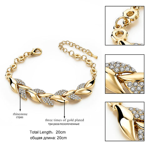 3 Plaited Crystal Link Chain Bracelet
