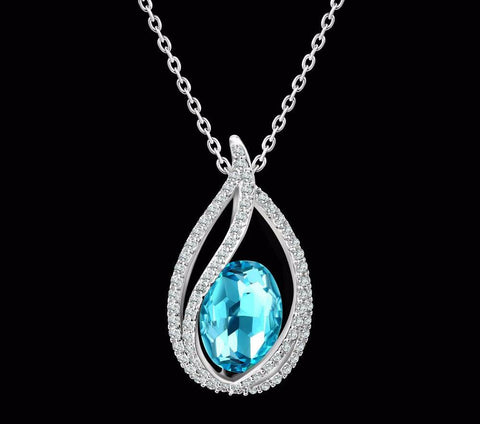 Elegant Platinum Plated Blue Stone Crystal Necklace Pendant