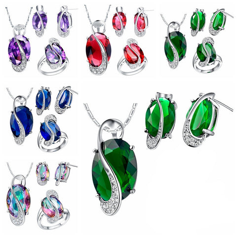 Sterling Silver Necklace Earring Ring Jewelry Set