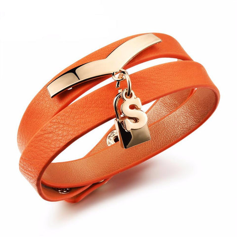 S-Lock Double Wrap Leather Bracelet