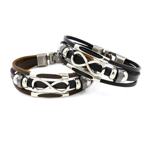 Mens Figure 8 Leather Rope Chain Bracelet