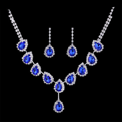 Blue Crystal Teardrop Necklace Earring Jewelry Set