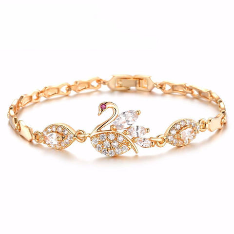 Gold Plated Crystal Swan Link Chain Bracelet