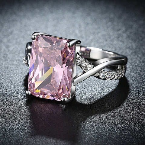Unique White Gold Pink Crystal Ring