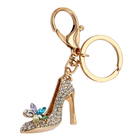 Gold Plated Crystal High Heels Keychain